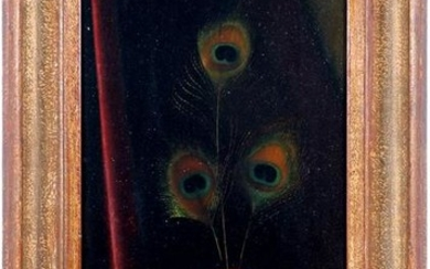 Still life vase with peacock feathers, panel 47x26 cm