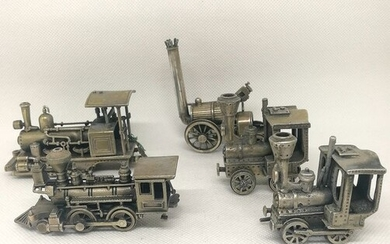 Superb collection of miniature trains (5) - .800 silver - Unoaerre - Italy - Second half 20th century