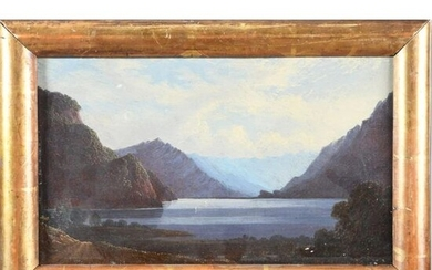 "Swiss school of the 19th century. ""View of a mountain lake"". Cardboard. 19x31,5. Expert : René MILLET."