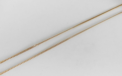 TWO CHAINS in yellow gold, one the clasp damaged. Weight 8,6 g