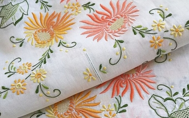 Tablecloth, tablecloth with twelve matching napkins, exquisite flower embroidery, unused. 310 x 170 cm (13) - Silk, Organza - Mid 20th century