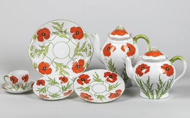 Attributed to Theodor Schmuz-Baudiss, an Art Nouveau porcelain service with red poppy décor, 27 pieces, designed in c. 1899/1900