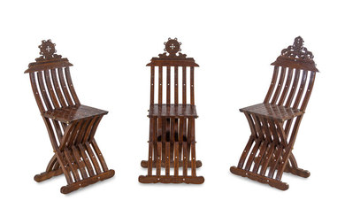 Three Syrian Mother-of-Pearl Inlaid Walnut Folding Chairs