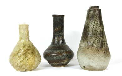Three stoneware glazed lamp bases