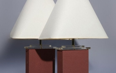 Two Mid-Century Modern Lucite Table Lamps, 20th Century