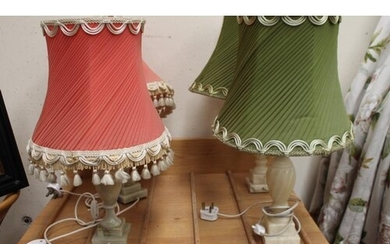 Two Pair of Onyx Table Lamps with Shades