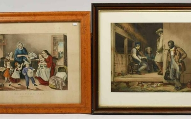 Two antique lithographs, Currier & Ives and other