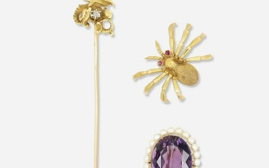 Two brooches and a stickpin
