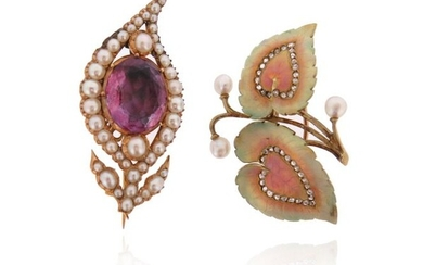 Two gem-set gold brooches, including a Victorian amethyst and seed-pearl...