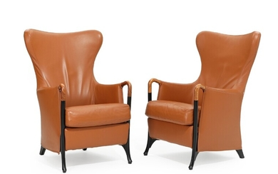 """Umberto Asnago: """"Progetti"""". A pair of high-backed easy chairs with black-lacquered legs and Pau Ferro..."""