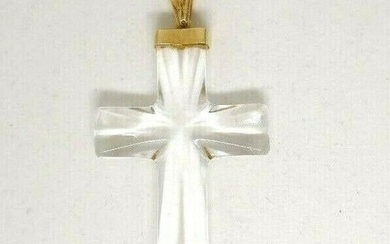 VINTAGE 14K Yellow Gold Rock Chrystal Cross
