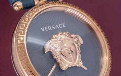 Versace - Palazzo Empire Rose Gold Green leather strapSwiss Made- VECQ00318 - Women - Brand New