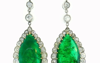 Victorian Emerald Diamond Gold Dangle EARRINGS Antique