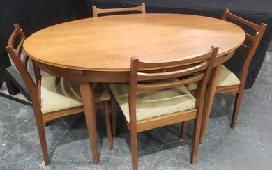 Vintage Teak Dining Table with 4 matched Chairs (Table - H: 74, W: 137, D: 97cm)