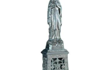 c.1920 French Our Lady of Lourdes Silver-plate Statue