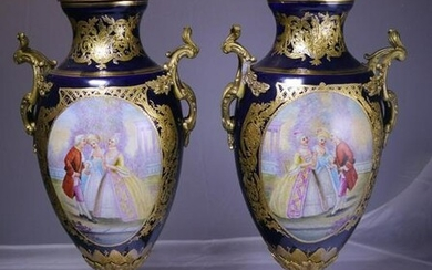 pair of 26 Inch High Hand painted Porcelain