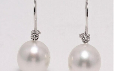 14 kt. White Gold - 10x11mm South Sea Pearls - Earrings
