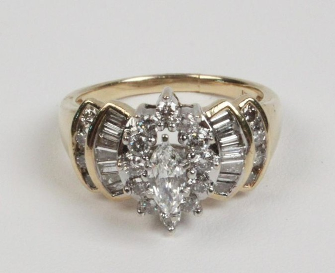 14K YELLOW GOLD AND DIAMOND LADIES RING