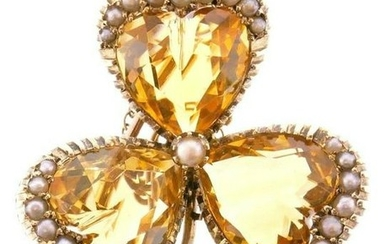 14k Yellow Gold Citrine Pearl Clover Brooch