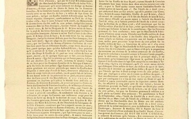 """1729. (BURGUNDY & BRESSE. RIGHT OF EXIT OF THE FABRICS). """"Arrest of the Council of State of the KING, which regulates the Exit Duty to be levied on Fabrics of Yarn, Hair or Wool, mixed with Soy (SILK)"""". of January 18, 1729. followed by the Order of..."""