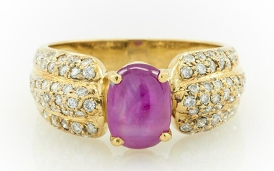 18k Yellow gold, ruby & pave diamond ring