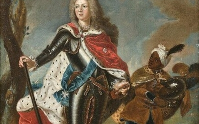 18th century FRENCH school, Surrounding by Hyacinth RIGAUD Portrait of Augustus III King of Poland, Elector Frederick Augustus of Saxony, son of Augustus the Strong. Canvas. Height. 31, Width. 24.8 cm. (old restorations). Provenance: on the back a...