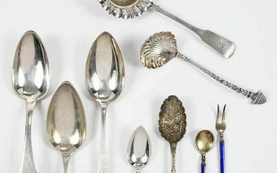 19 Pieces Continental and English Silver Flatware