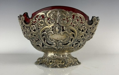 19TH C. GERMAN 800 SILVER BOWL WITH RUBY GLASS INSERT