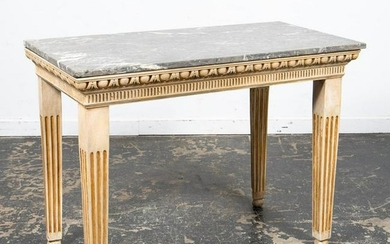 19TH C. LOUIS XVI STYLE MARBLE TOP CONSOLE