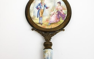 19th C. Viennese Enamel and Bronze Hand Mirror