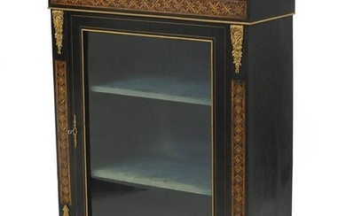 19th century French ebonised pier cabinet with