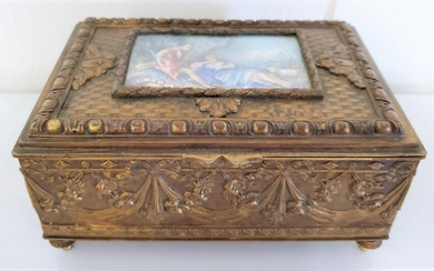 19thc French ormolu Box With Hand Painted Porcelain