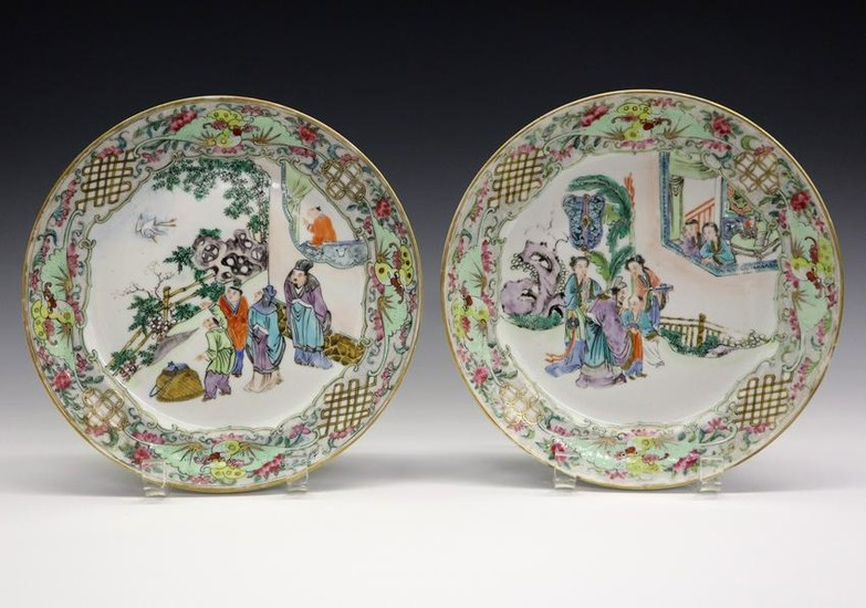2 Chinese Export Porcelain Plates