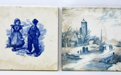 2 Hand Painted Delft Porcelain Tiles
