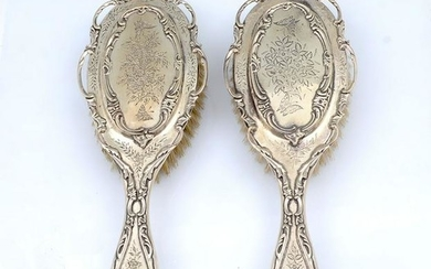 2 PC. ENGLISH STERLING SILVER HAIR BRUSHES
