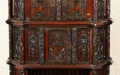 CARVED MAHOGANY GOTHIC STYLE CABINET C.1900