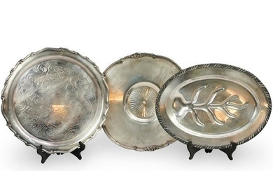 (3 Pc) Silver Plated Trays