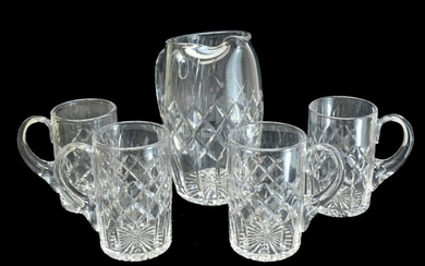5pc Cartier Crystal Water Pitcher & Mug Set in CTC3