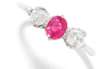 RUBY AND DIAMOND THREE STONE RING in gold or platinum