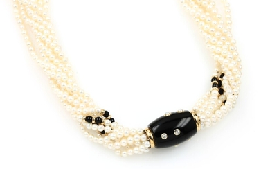 8-row necklace made of cultured akoya pearls...