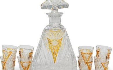 (9 Pc) Bohemian Crystal Cut Liquor Set