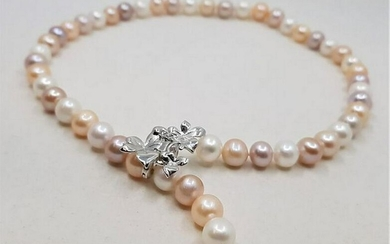 925 Silver - 10x11mm Multi Cultured Pearls - Necklace