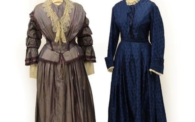 A 19th Century Purple and White Striped Day Dress, with...
