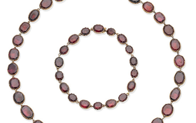 A 19th century garnet rivière and bracelet suite