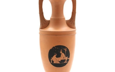 A 20th century earthenware amphora vase, decorated in black with classical sceneries. H. 53 cm.