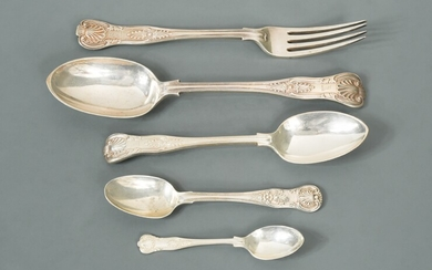 A 24 piece harlequin set of Victorian silver flatware with 11 additions