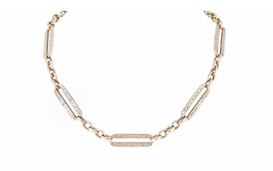A 9CT GOLD FANCY LINK WATCH CHAIN, engraved links, 34 g