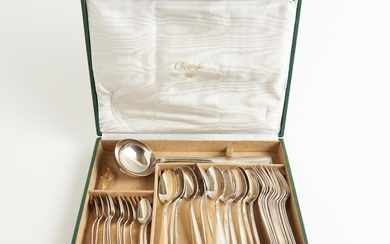 A CASED CHRISTOFLE 'ATLAS' PATTERN FLATWARE SET, 36 PIECES (NO KNIVES), LEONARD JOEL LOCAL DELIVERY SIZE: SMALL