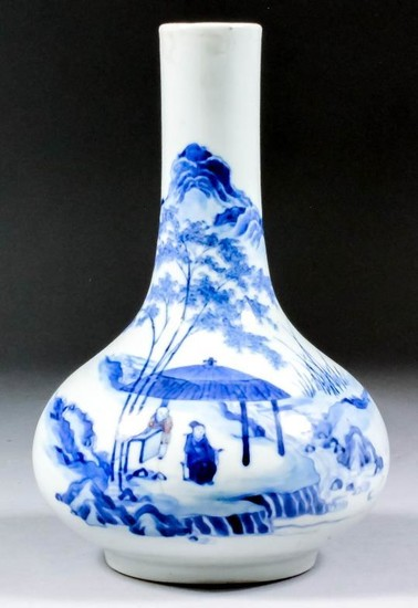 A Chinese Blue and White Porcelain Bottle Vase, 18th/19th...