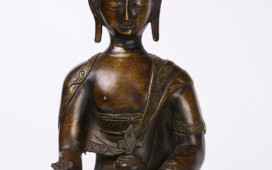 A Chinese Cast Bronze Figure of a Seated Buddha